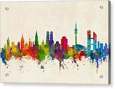 Munich Germany Skyline Acrylic Print by Michael Tompsett