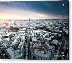 Acrylic Print featuring the photograph Munich - Sunrise At A Winter Day by Hannes Cmarits