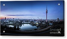 Acrylic Print featuring the photograph Munich - Watching The Sunset At The Olympiapark by Hannes Cmarits