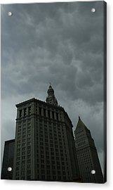 Municipal Building In Storm Acrylic Print by Christopher Kirby