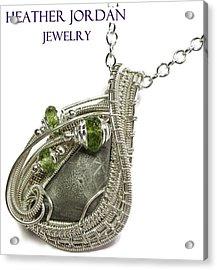 Muonionalusta Meteorite Slice Pendant In Sterling Silver With Peridot Imsss5 Acrylic Print