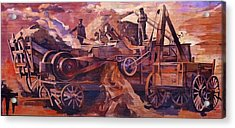 Acrylic Print featuring the painting Mural 12x90 Feet Detail Threshing Crew by Tim  Heimdal
