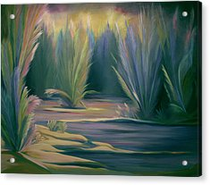 Acrylic Print featuring the painting Mural Field Of Feathers by Nancy Griswold