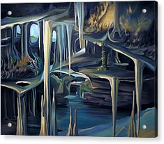 Mural Ice Monks In November Acrylic Print by Nancy Griswold