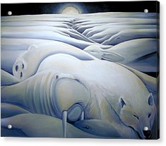 Mural  Winters Embracing Crevice Acrylic Print by Nancy Griswold