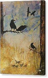 Murder Of Crows Acrylic Print by John Vandebrooke