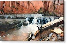 Muscatatuck Falls Autumn Abstract Acrylic Print