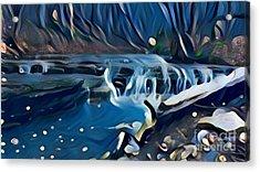 Muscatatuck Falls - Night Flow Acrylic Print