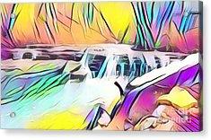 Muscatatuck Falls Rainbow Abstract Acrylic Print