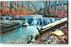 Muscatatuck Falls Touch Of Blue Abstract Acrylic Print