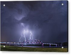 Muscatine Bridge Lightning Acrylic Print by Paul Brooks
