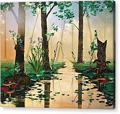 Mushroom Forest Acrylic Print by Digital Art Cafe
