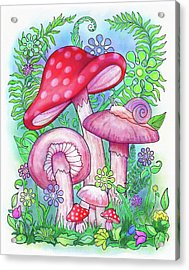 Mushroom Wonderland Acrylic Print by Jennifer Allison