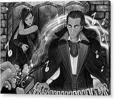 Music Is Magic - Black And White Fantasy Art Acrylic Print by Raphael Lopez