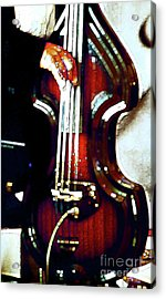 Music Man Bass Violin Acrylic Print by Linda  Parker