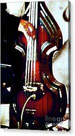 Music Man Bass Violin Acrylic Print by Linda  Parker