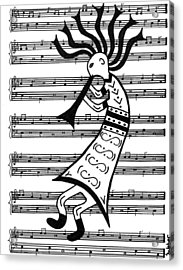 Music Man Kokopelli Acrylic Print by Susie WEBER