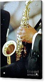 Music Man Saxophone 1 Acrylic Print by Linda  Parker
