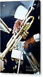 Music Man Trumpet Acrylic Print by Linda  Parker