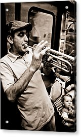 Music On The Metro Acrylic Print by Pat Shawyer
