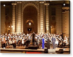 Acrylic Print featuring the photograph Music Under The Stars - Symphony At Pasadena City Hall California by Ram Vasudev