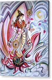 Musical Goddess Saraswati - Healing Art Acrylic Print by Harsh Malik