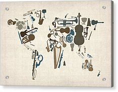 Acrylic Print featuring the digital art Musical Instruments Map Of The World Map by Michael Tompsett