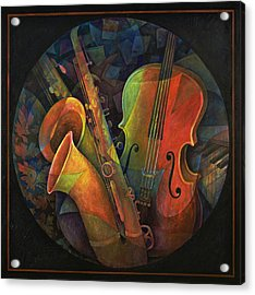 Musical Mandala - Features Cello And Sax's Acrylic Print by Susanne Clark