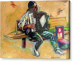 Acrylic Print featuring the drawing Musician With Accordion by Stan Esson