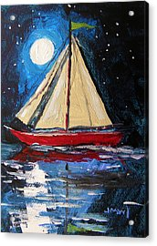 Musing-midnight Sail Acrylic Print by John Williams