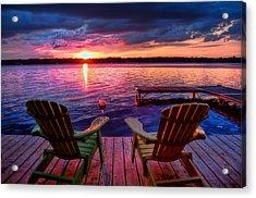 Acrylic Print featuring the photograph Muskoka Chair Sunset by Michaela Preston