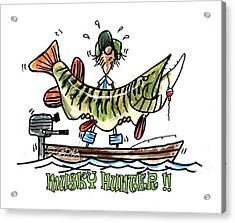 Musky Hunter - Cartoon Acrylic Print by Peter McCoy