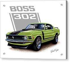 Mustang Boss 302 Grabber Green Acrylic Print by David Kyte