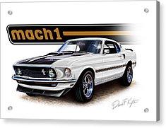 Mustang Mach 1 White Acrylic Print by David Kyte