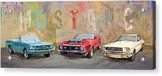 Mustang Panorama Painting Acrylic Print