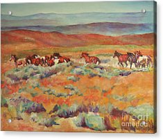 Mustangs Running Near White Mountain Acrylic Print by Karen Brenner