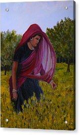 Mustard Fields Of India Acrylic Print by Betty Pimm
