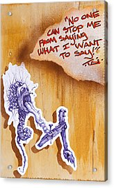 My 1st Amendment Right Begets A Piece Of This Kind Acrylic Print by Tai Taeoalii