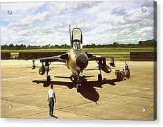 Acrylic Print featuring the digital art My Baby F-105 by Peter Chilelli