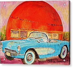 My Blue Corvette At The Orange Julep Acrylic Print by Carole Spandau
