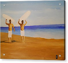 my brother and I Acrylic Print by Fred Reid