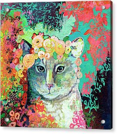 My Cat Naps In A Bed Of Roses Acrylic Print