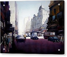 Acrylic Print featuring the painting My City At Morning by Samiran Sarkar