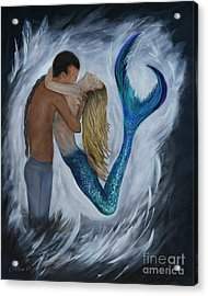Acrylic Print featuring the painting My Dream Mermaid by Leslie Allen