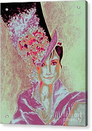 My Fair Audrey -- In Raspberry And Orange Acrylic Print