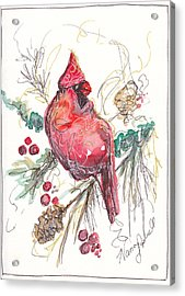 My Favorite Cardinal Acrylic Print by Michele Hollister - for Nancy Asbell