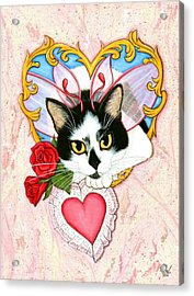 Acrylic Print featuring the painting My Feline Valentine Tuxedo Cat by Carrie Hawks
