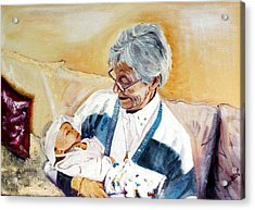 my granddaughter Leonie with her great grandmum Acrylic Print by Helmut Rottler