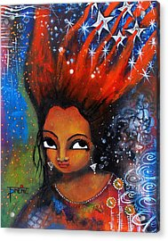 Acrylic Print featuring the mixed media My Hair Is Being Pulled By The Stars  by Prerna Poojara