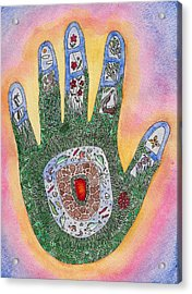 My Handprint On The World Acrylic Print by Melanie Rochat